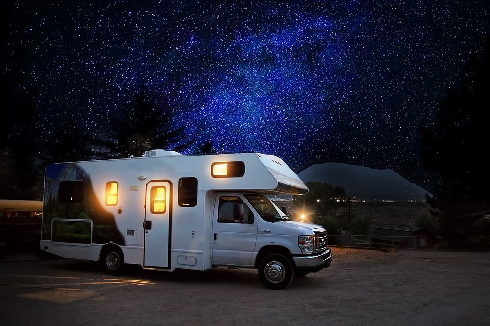 a motorhomes parked under milky way galaxy